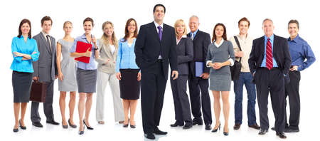 are working: Group of business people. Business team. Isolated over white background
