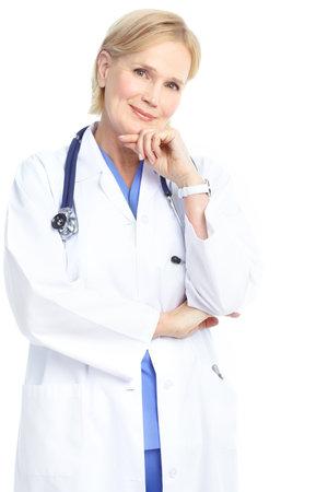 doctor verpleegster: Lachende arts vrouw met stethoscoop. Geà ¯ soleerd op witte achtergrond Stockfoto