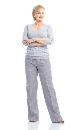 mujeres maduras: Anciana feliz sonriente. Aislados sobre fondo blanco