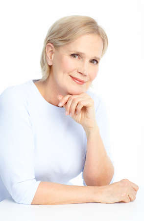 Smiling happy elderly woman. Isolated over white background Stock Photo - 8736133