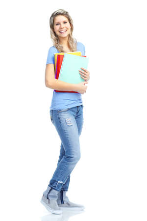 Young smiling  student woman. Over white background Stock Photo - 8736105