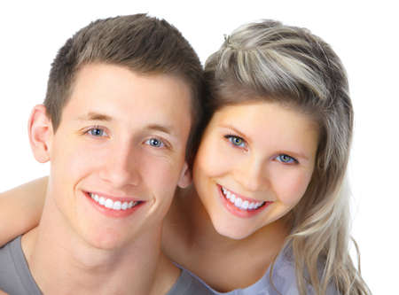 smiles with teeth: Happy smiling couple in love. Over white background
