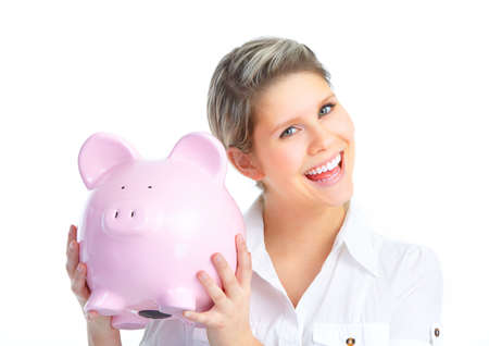Young woman with a piggy bank. Isolated over white background Stock Photo - 8736110