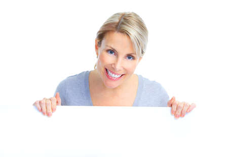 happy woman holding a white plackard Stock Photo - 8736085