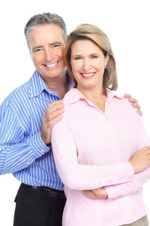 pareja saludable: Pareja de personas mayores en el amor. Aislados sobre fondo blanco  Foto de archivo