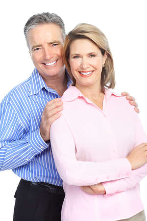 older couple: Seniors couple in love. Isolated over white background  Stock Photo