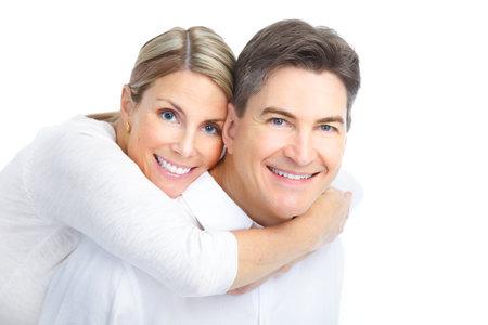 행복 한 커플 사랑에서 웃 고입니다. 흰색 배경 위에 스톡 콘텐츠