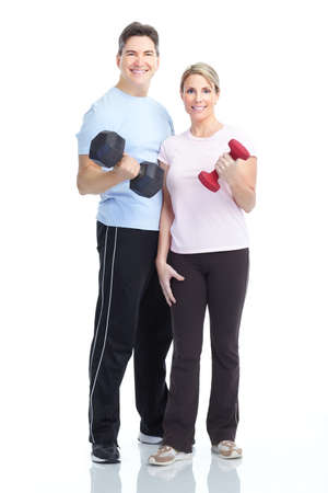 muscularity: Fitness. Smiling young  strong man and woman. Isolated over white background  Stock Photo