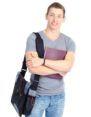 college student: Young smiling  student with books. Over white background