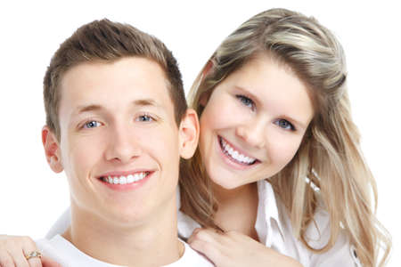 girl teeth: Happy smiling couple in love. Over white background