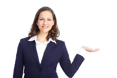 Sourire femme d'affaires présentant. Isolé sur fond blanc