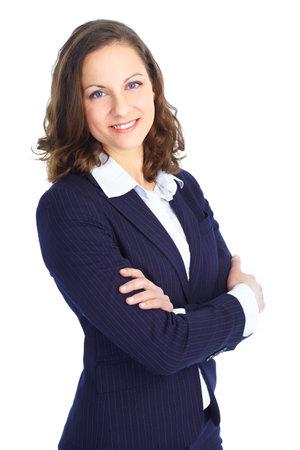 Glimlachende zakenvrouw. Geïsoleerd op witte achtergrond