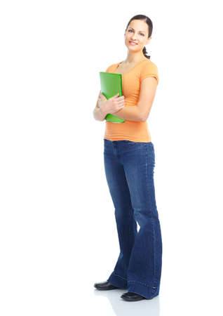Young smiling  student woman. Over white background Stock Photo - 8736256