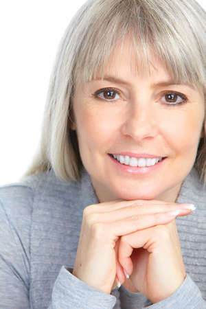 smiling woman. Isolated over white background  Stock Photo
