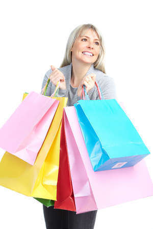 beauty shop: Shopping happy  elderly woman. Isolated over white background  Stock Photo