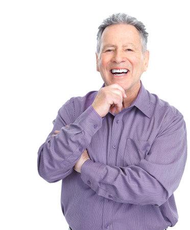 Smiling happy elderly man. Isolated over white background  Banco de Imagens