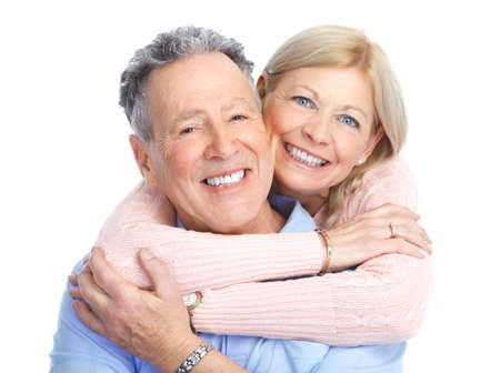Senior couple in love. Isolated over white background  photo