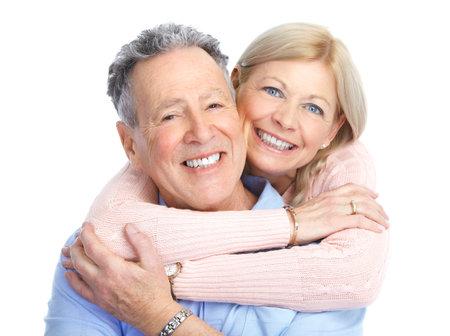 Senior pareja de enamorados. Aislados sobre fondo blanco Foto de archivo - 8736457