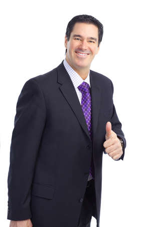 Smiling handsome businessman. Isolated over white background  photo