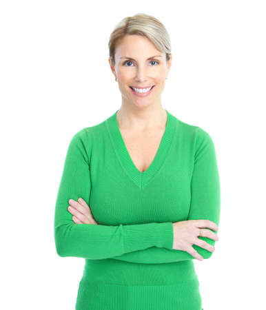sexy mature women: Beautiful smiling woman. Isolated over white background  Stock Photo