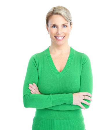 donne mature sexy: Bella donna sorridente. Isolato su sfondo bianco