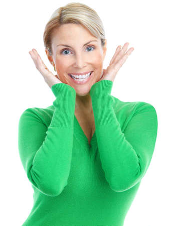 아름다운 웃는 여자. 흰색 배경에 고립