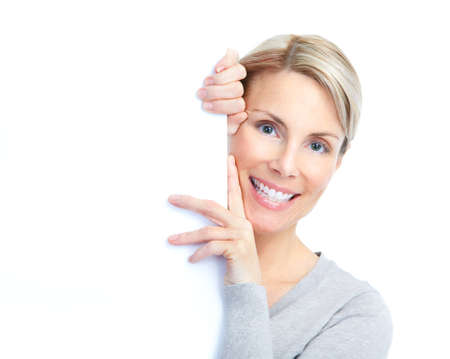 excited business woman: happy woman holding a white plackard