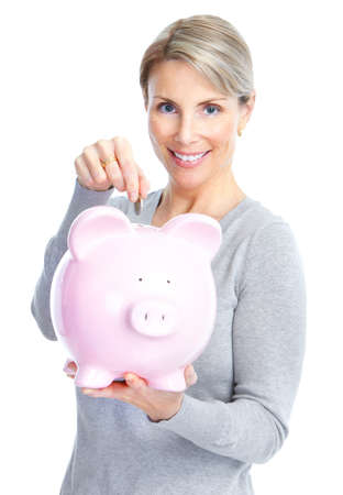 a lot of money: Woman with a piggy bank. Isolated over white background