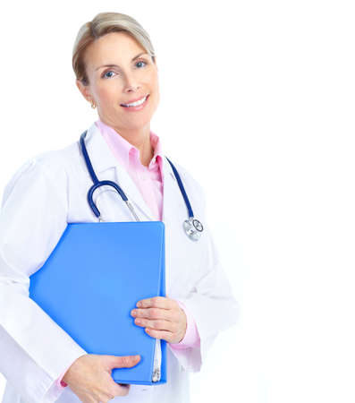 Smiling medical doctor woman with stethoscope. Isolated over white background  photo
