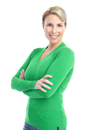 mature female: Beautiful smiling woman. Isolated over white background  Stock Photo