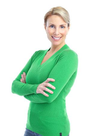 mujeres maduras: Hermosa mujer sonriente. Aislados sobre fondo blanco  Foto de archivo