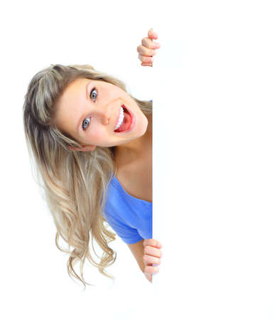 Young happy woman holding a white plackard Stock Photo - 8738090
