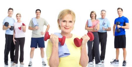 fitness hombres: Gimnasio, Fitness, estilo de vida saludable. Personas sonrientes. Sobre fondo blanco