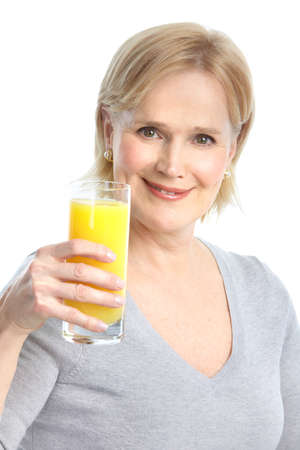 Mature smiling woman with orange juice photo