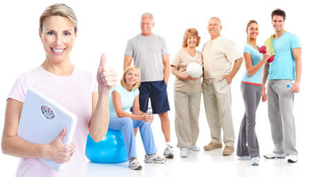 Gym, Fitness, healthy lifestyle. Smiling people. Over white background Stock Photo - 8856816