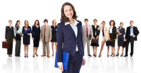 Groep van mensen uit het bedrijfsleven. Business team. Geïsoleerd op witte achtergrond Stockfoto