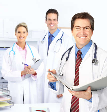 Medical doctors working in the office