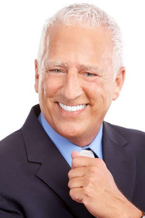president:  Smiling mature  businessman. Isolated over white background  Stock Photo