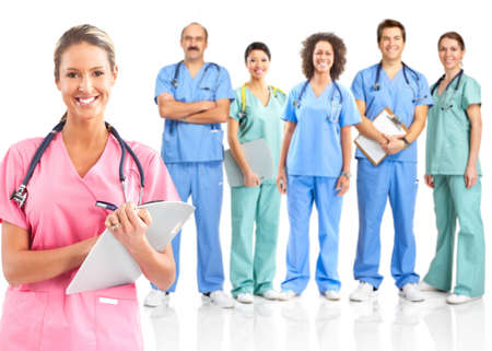 specialists: Smiling medical doctors with stethoscopes. Isolated over white background