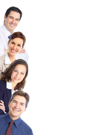 employees group: Group of business people. Business team. Isolated over white background