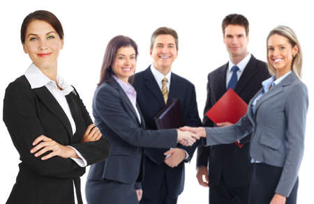 shake hands: Young smiling  business women and businessmen. Over white background