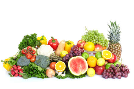fruit and vegetables: Vegetables and fruits. Apple, orange,  plum, lemon, watermelon, pear   Stock Photo