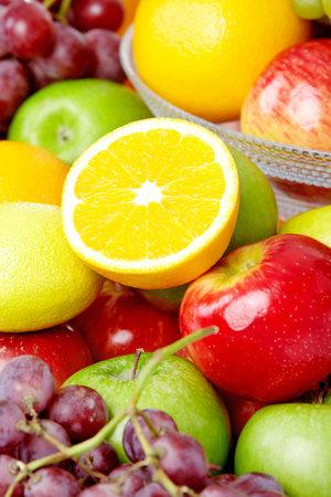 Vegetables and fruits. Apple, orange,  plum, lemon, watermelon, pear   Stock Photo