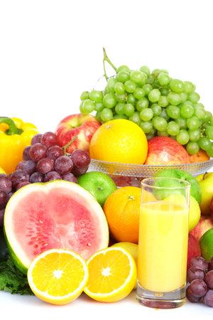 Frutas y verduras. Manzana, naranja, ciruela, limón, sandía, pera  Foto de archivo - 8856856