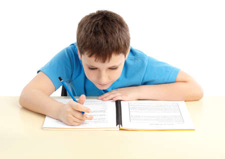 scholarship: schoolboy. Isolated over white background