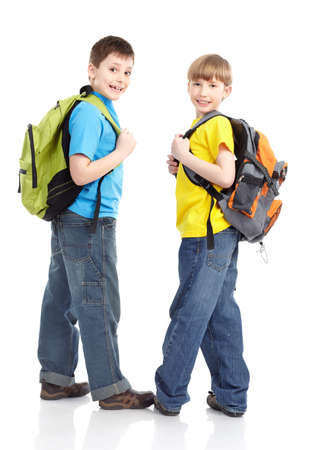 Happy smiling schoolboys. Isolated over white background Stock Photo - 8856859