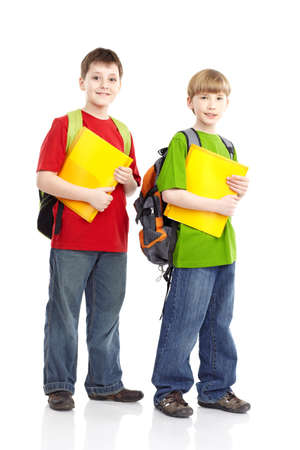 school bags: Happy smiling schoolboys. Isolated over white background