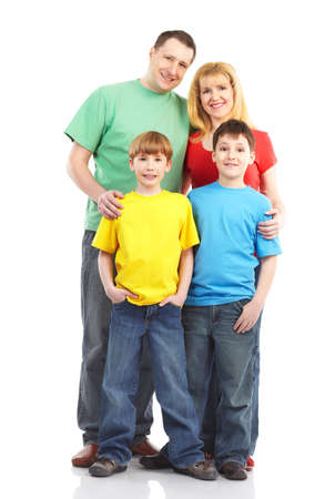 Happy family. Father, mother and children. Over white background Stock Photo - 8856848