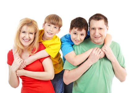 Happy family. Father, mother and children. Over white background Stock Photo - 8856880
