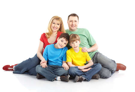 Happy family. Father, mother and children. Over white background Stock Photo - 8856812
